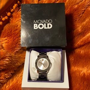 SALE Movado Bold time piece with rose gold accents